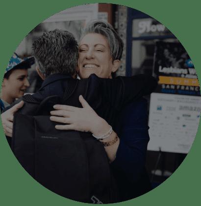 lesbians who tech hugging
