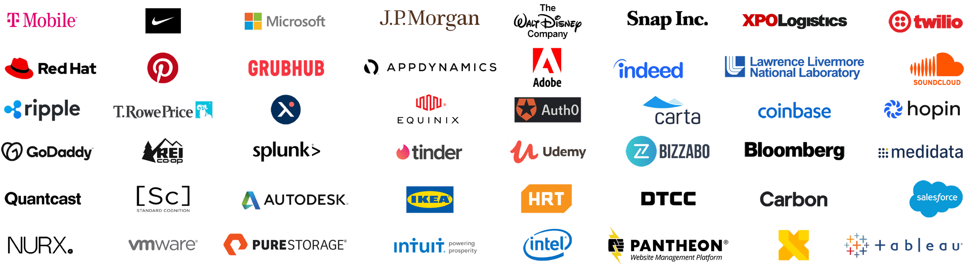 Lesbians Who Tech & Allies' Silver sponsors for the Debug 2020 Summit: T-Mobile, Nike, Microsoft, JP Morgan, The Walt Disney Company, Snap, XPO Logistics, Twilio, Red Hat, Pinterest, Grubhub, AppDynamics, Adobe, Indeed, Lawrence Livermore National Laboratory, SoundCloud, Ripple, T. Rowe Price, Expanse, Equinix, Auth0, Carta, Coinbase, Hopin, GoDaddy, REI, Splunk, Tinder, Udemy, Bizzabo, Bloomberg, Medidata Solutions, Quantcast, Standard Cognition, Autodesk, IKEA, Hudson River Trading, DTCC, Carbon, Salesforce, NURX, VMware, Pure Storage, Intuit, Intel, Pantheon, X, the moonshot factory, Tableau