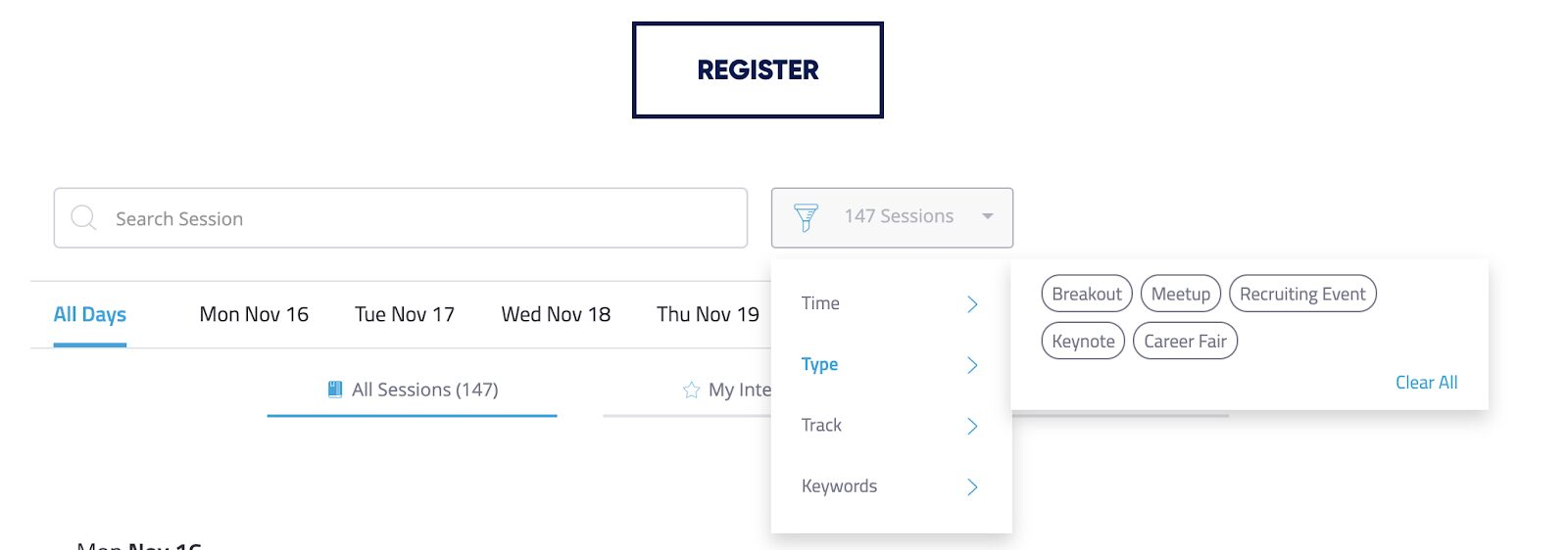 The agenda section of the site with the Sessions filter selected and the 'Type' option selected to see the types 'Breakout', 'Meetup', 'Recruiting Event', 'Keynote', and 'Career Fair'