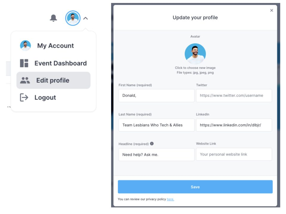 Screenshot of the Hopin UI: The top right area of the header will have a dropdown to modify your profile. Click on the dropdown and then click on the 'Edit profile' option.