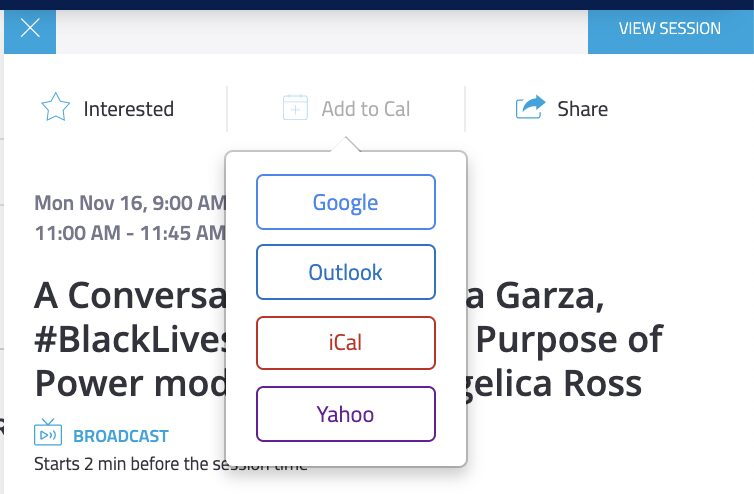 An open session on the Bizzabo agenda showing the 'Add to Cal' options: Google, Outlook, iCal, and Yahoo