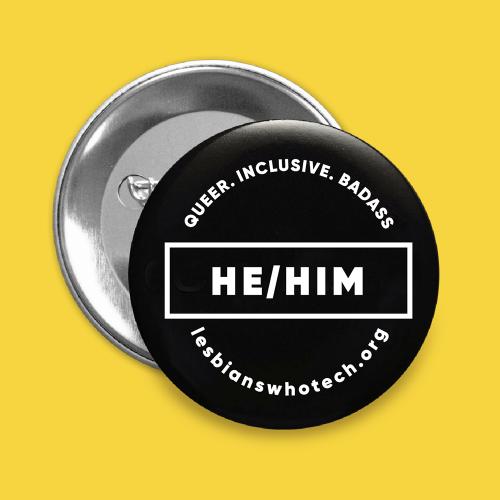 black he/him pronoun pin